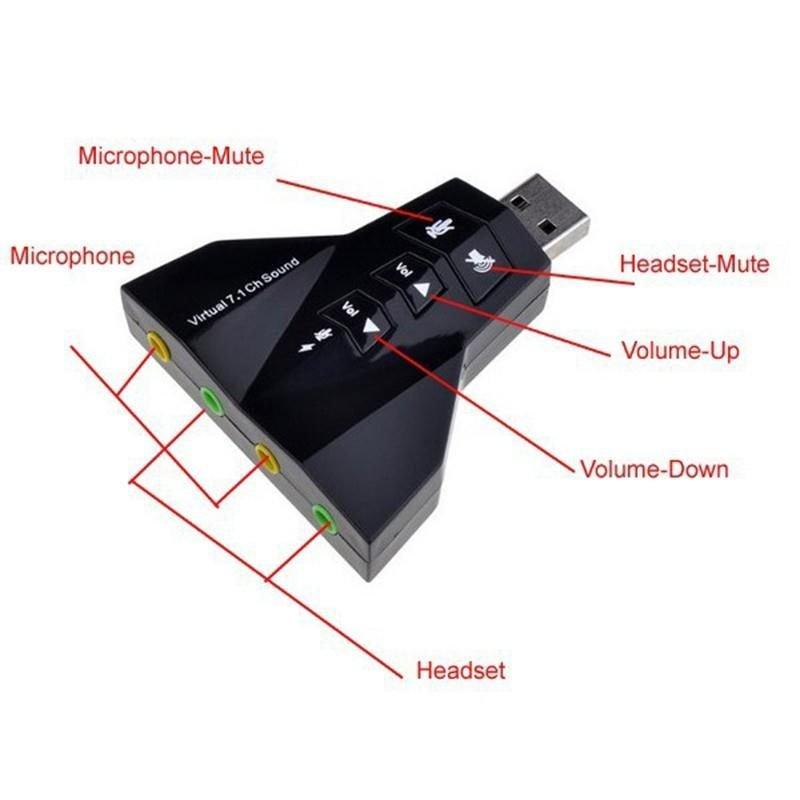 USB ra sound 7.1 3D Hình phi thuyền - 4 jack cắm