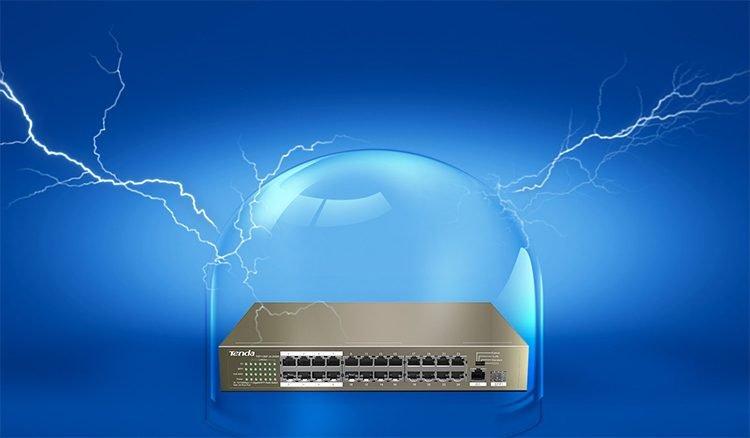 Switch PoE Tenda TEF1126P (với 24 port PoE, 1 port Gigabit 1.0Gbps và 1 port 1G FSP)