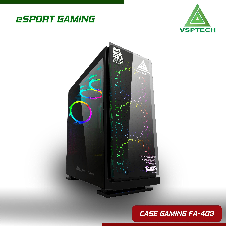 Case Vision FA-403 eSPORT Gaming (Kính Hình Hoa Văn Tổ Ông)