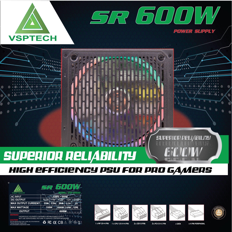 NGUỒN VSP SR-600W Gaming Led Chính Hãng